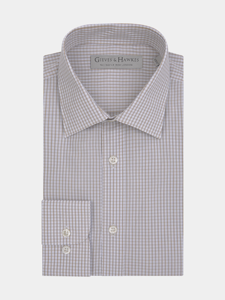 Sand Tonal Check Tailored Fit Shirt