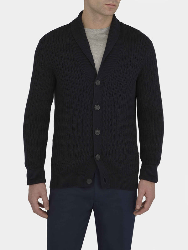 Navy Knitted Shawl Collar Cardigan