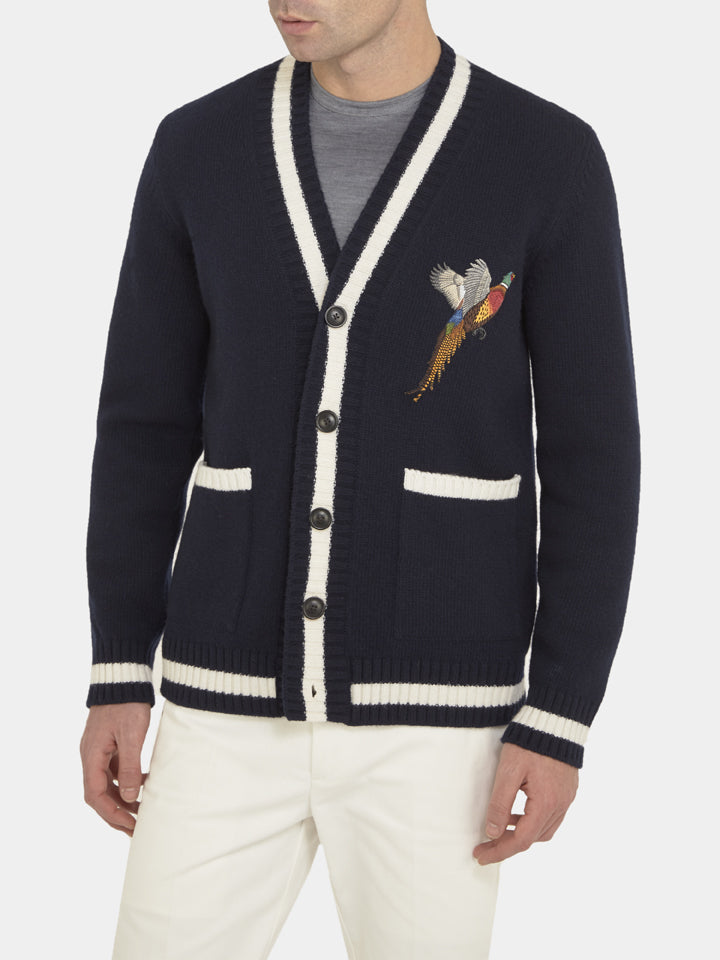Navy And White Wool College Cardigan