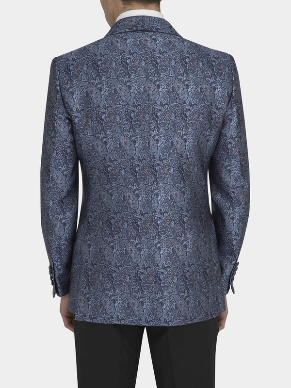 Blue Full Canvas Silk Jacquard Evening Jacket
