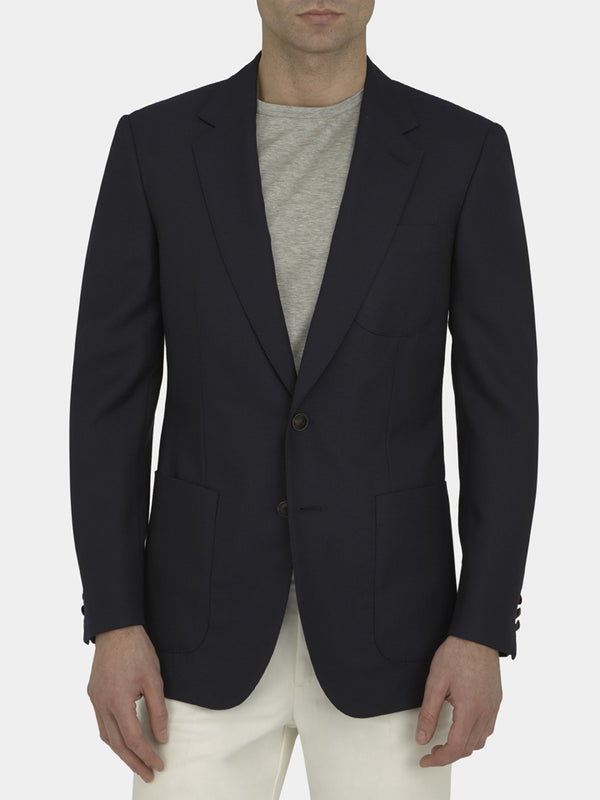 Navy Full Canvas Wool Mesh Blazer