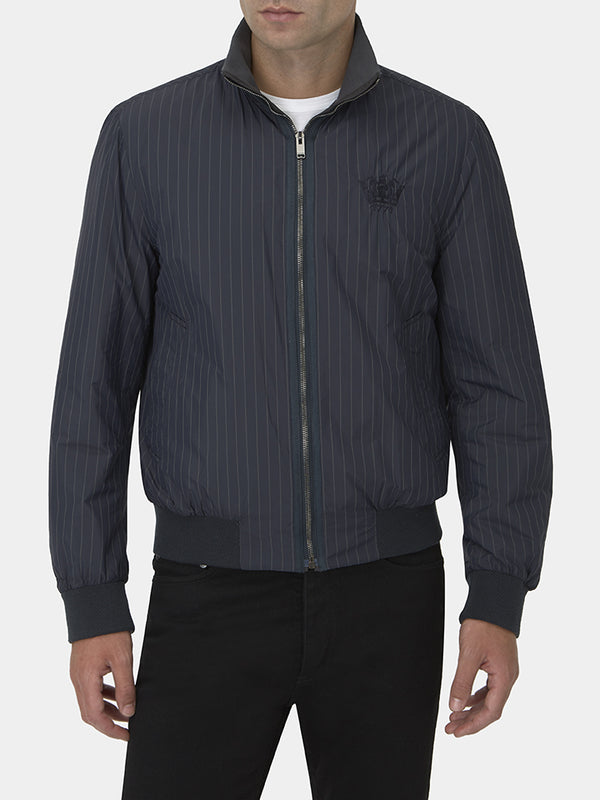 Navy Pinstripe Reversible Technical Blouson