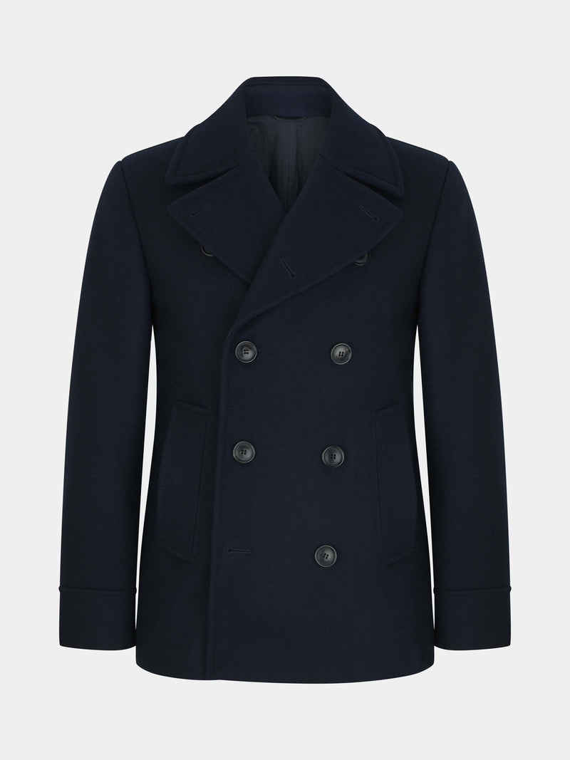 Navy Wool Melton Peacoat