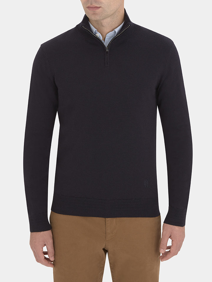 Fine Merino Quarter-zip Sweater