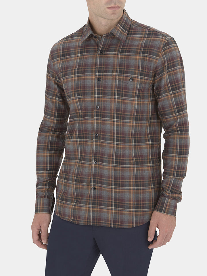 Terracotta Checked Flannel Casual Shirt