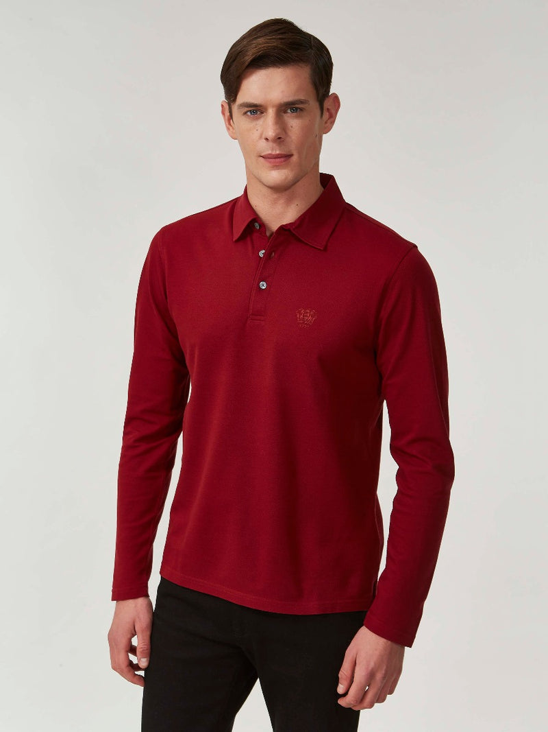 Red Long Sleeve Piqué Polo