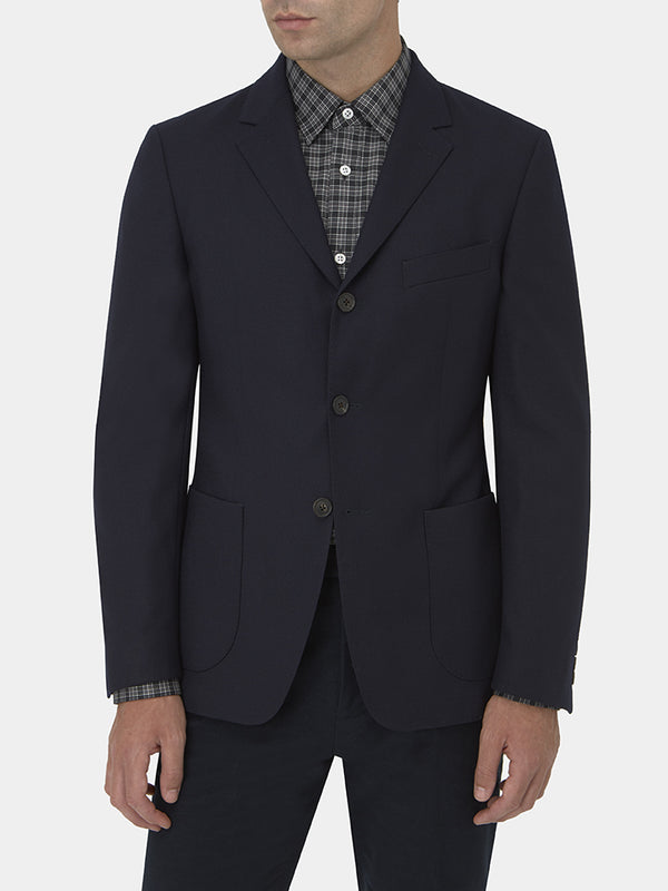 Navy Virgin Wool Three-button Blazer