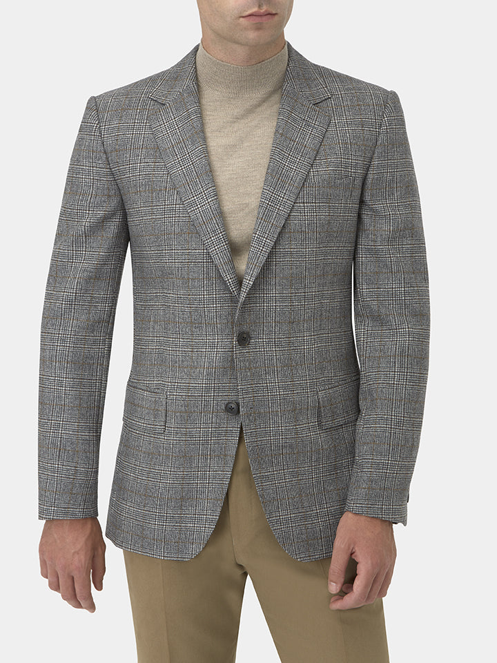 Grey Virgin Wool Prince-of-wales Check Jacket