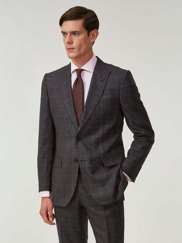 Charcoal Checked Wool And Cashmere Suit