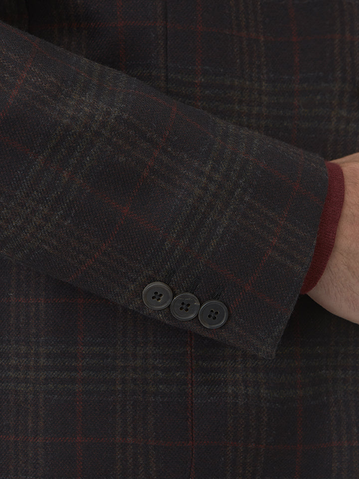 Chocolate Wool And Cashmere Check Flannel Three-button Jacket
