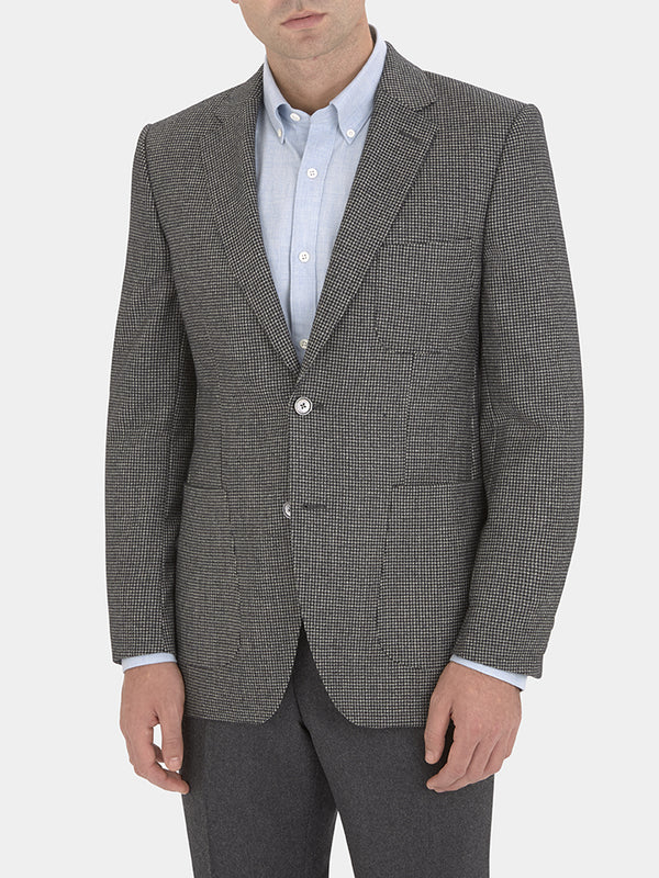 Grey Houndstooth Wool Jacket