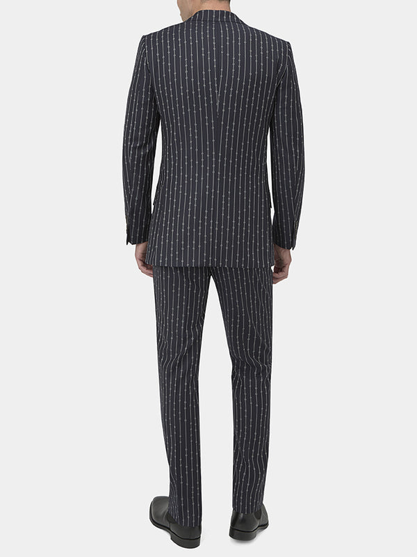 Midnight Blue Rope Stripe Wool Suit