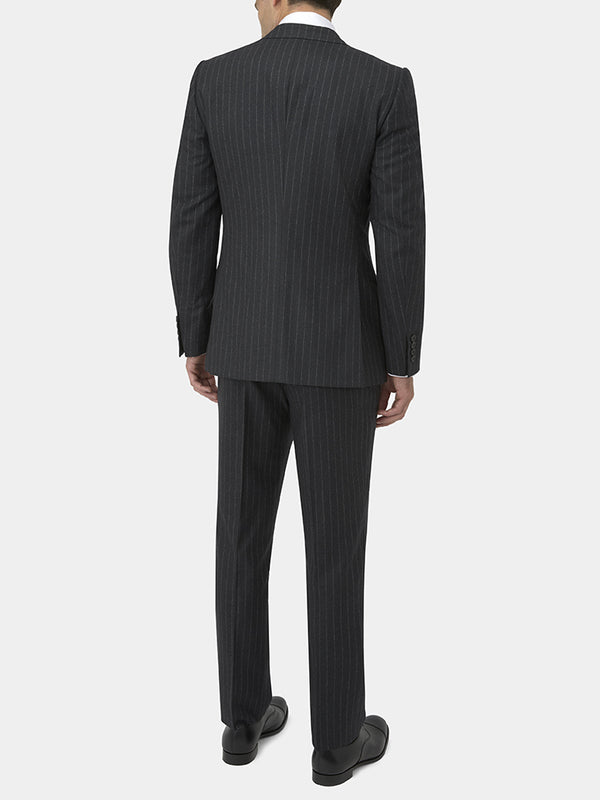 Charcoal Chalkstripe Wool Flannel Suit Jacket