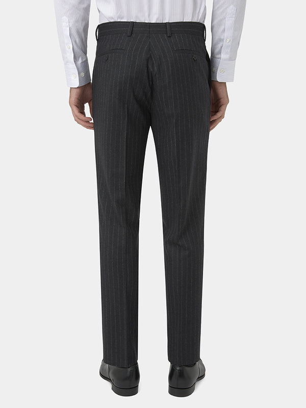 Charcoal Chalkstripe Wool Flannel Trousers