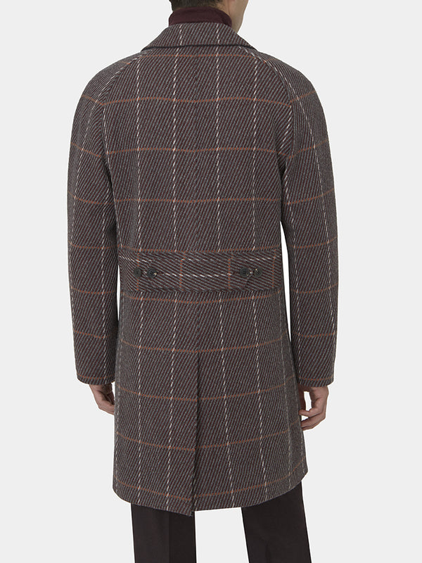 Burgundy Check Wool Raglan Overcoat