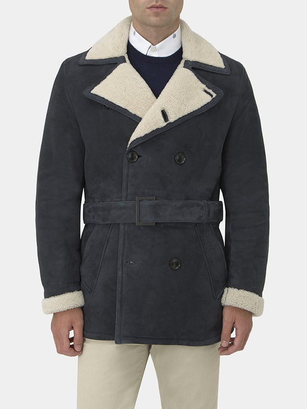 Navy Shearling Peacoat