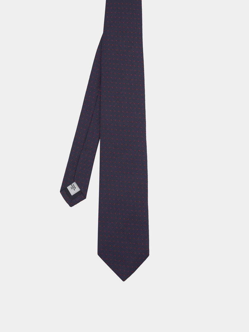 Navy And Crimson Spotted Silk Tie