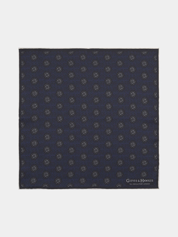 Tonal Medallion Print Silk Pocket Square