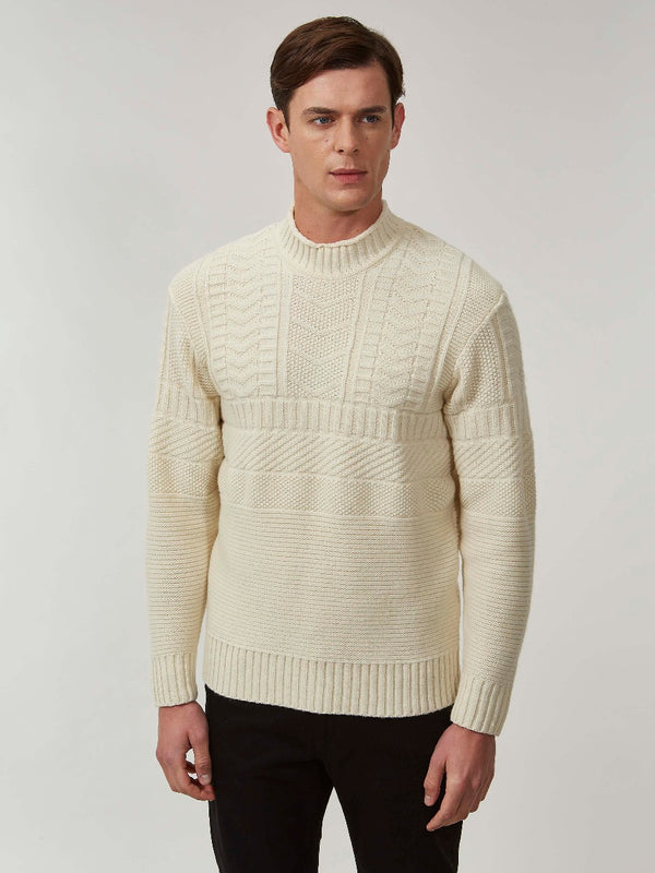 Cream Lambswool And Cashmere Guernsey Mock Neck