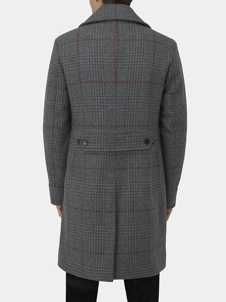 Charcoal Wool Prince-of-wales Check Greatcoat