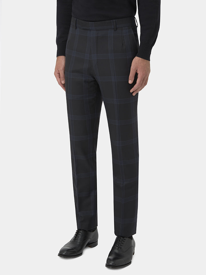 Midnight Blue Tonal Windowpane Check Wool Suit