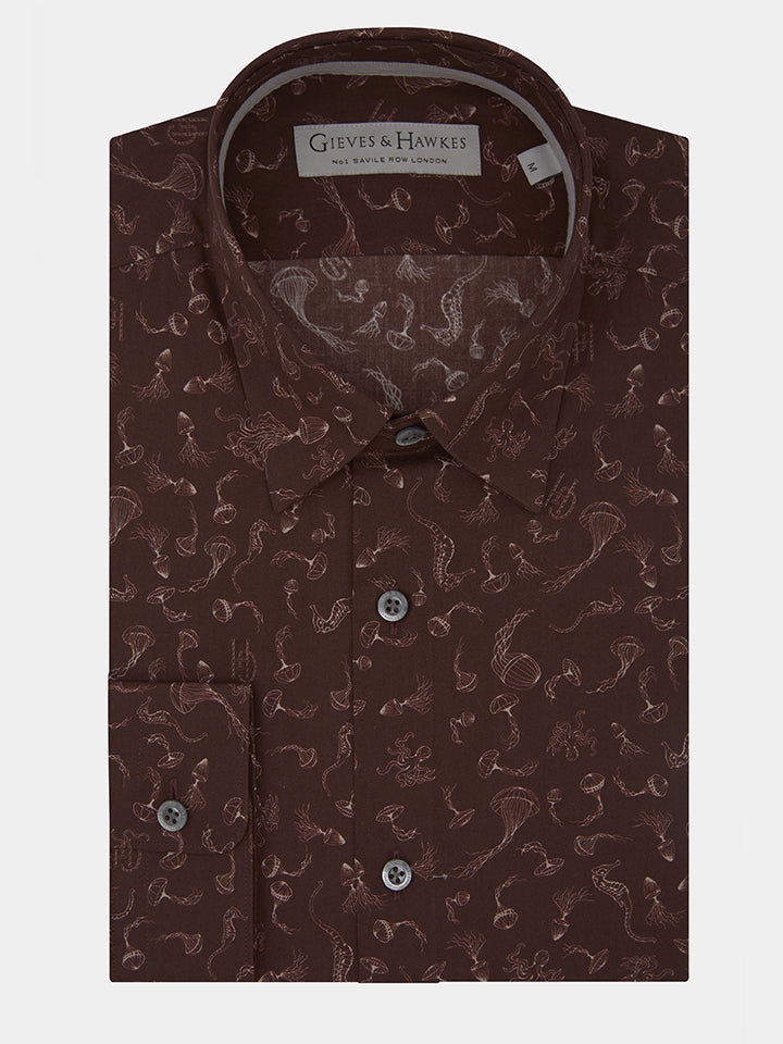 Burgundy Sea Creatures Casual Shirt