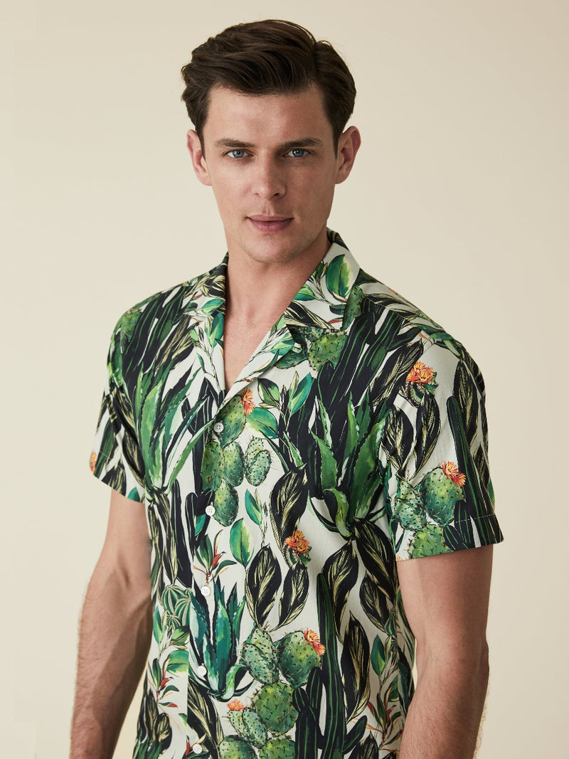 Silk Cactus Print Camp Collar Shirt