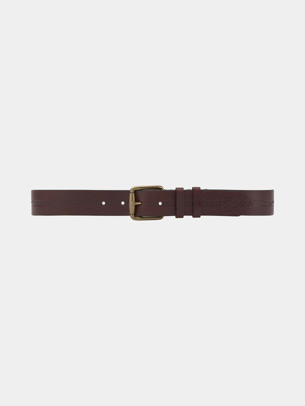 Burgundy Printed Leather Belt