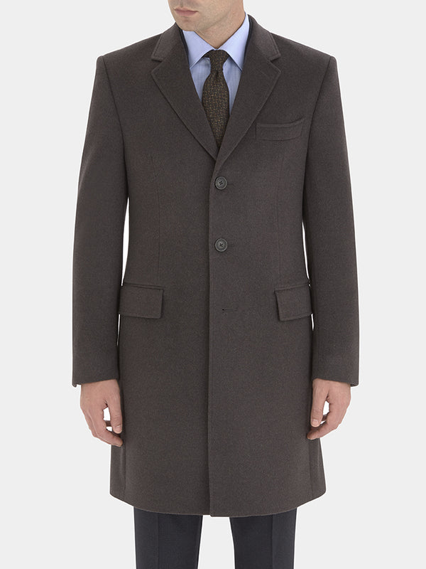 Charcoal Cashmere Single-breasted Overcoat