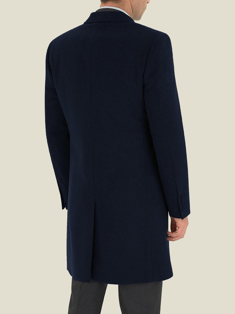 Navy Cashmere Single-breasted Overcoat