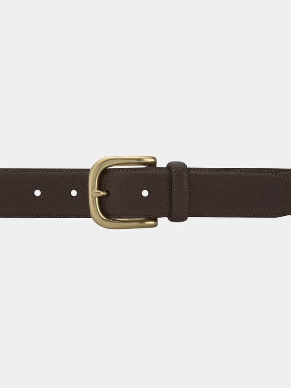 Dark Brown Pebble Grain Leather Belt