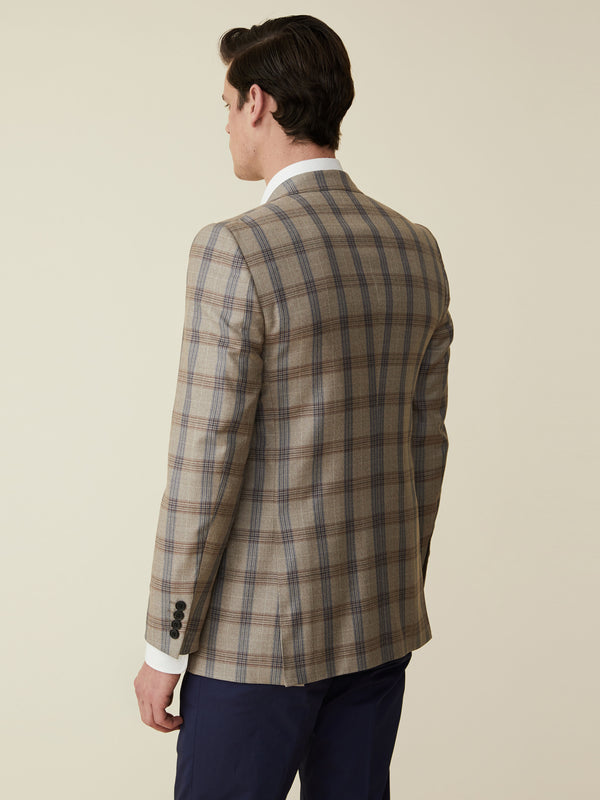 Sand Wool And Silk Windowpane Check Jacket
