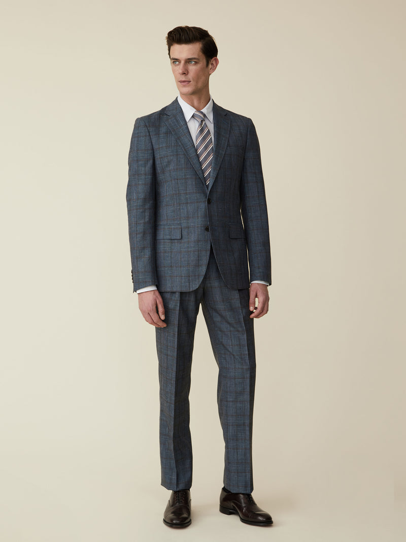 Steel Blue Wool, Silk And Linen Check Suit