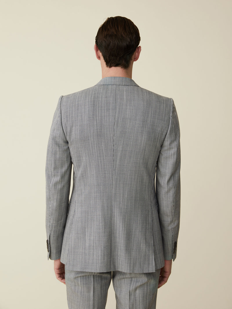 Navy And White Wool Puppytooth Suit