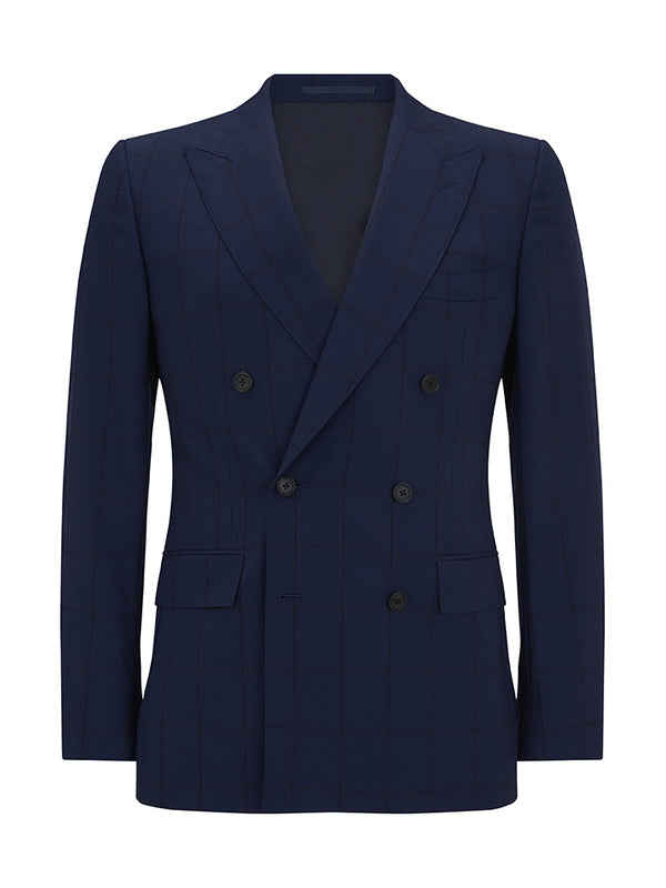 Navy Double-breasted Wool Windowpane Check Suit