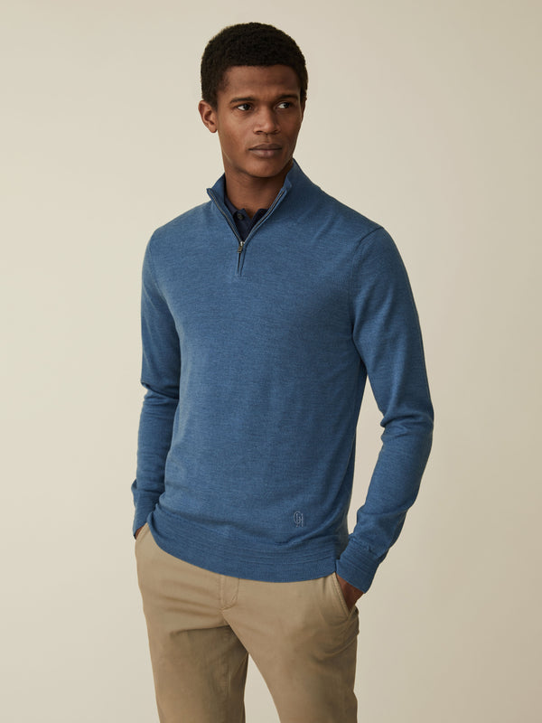 Fine Merino Zip-neck