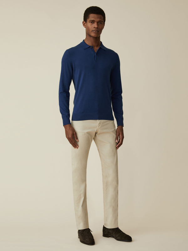 Silk And Cotton Long Sleeve Polo
