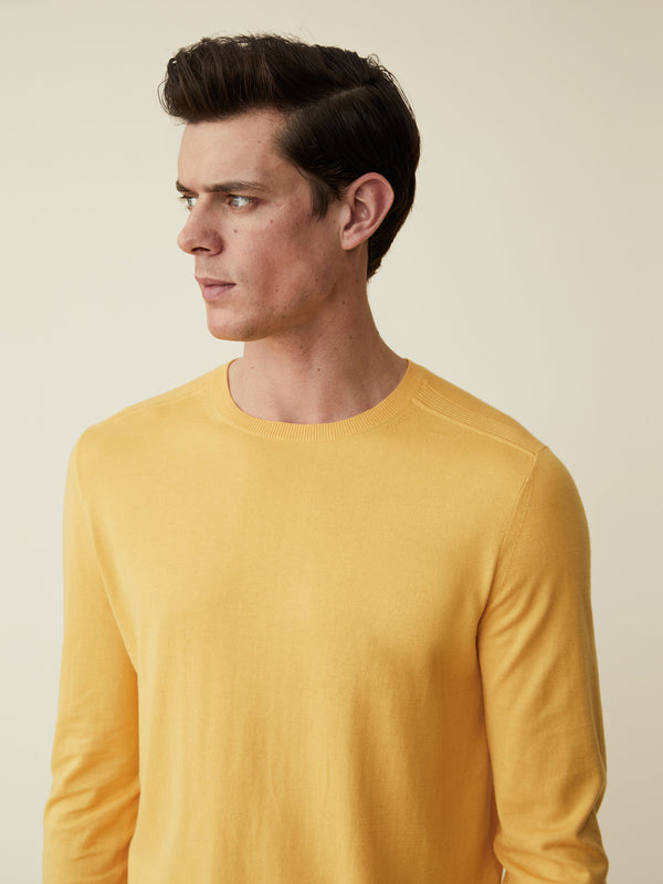 Yellow Fine Cotton And Silk Crewneck