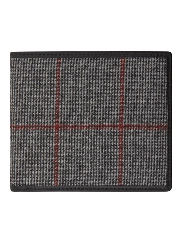 Checked Flannel And Leather Billfold Wallet