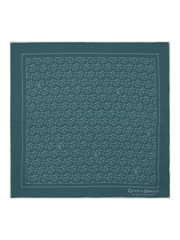 Green Abstract Cactus Print Silk Pocket Square