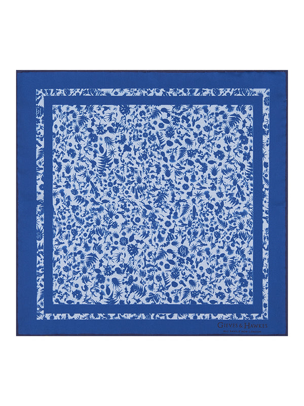 Blue Explorer's Print Silk Pocket Square