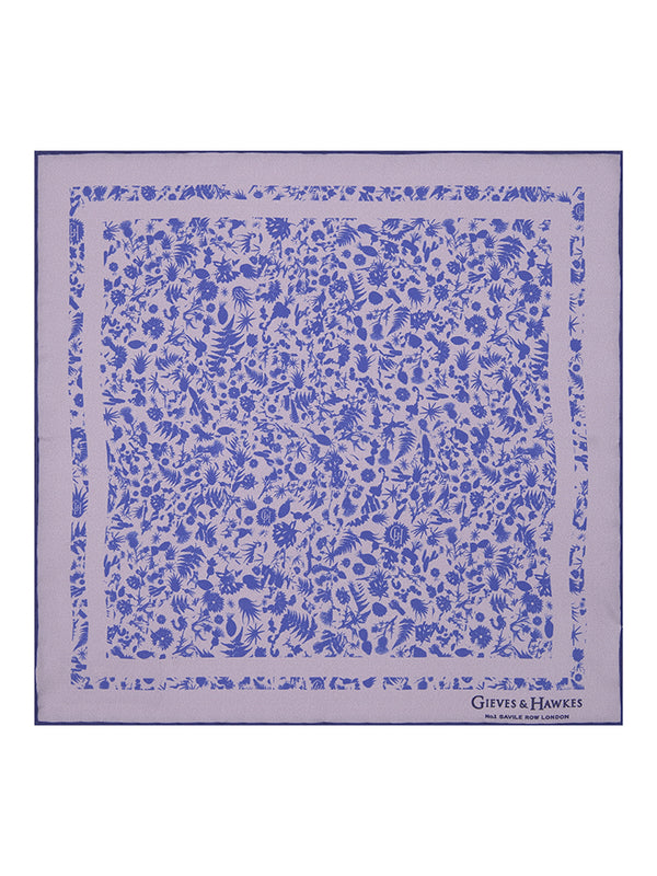 Purple Explorer's Print Silk Pocket Square