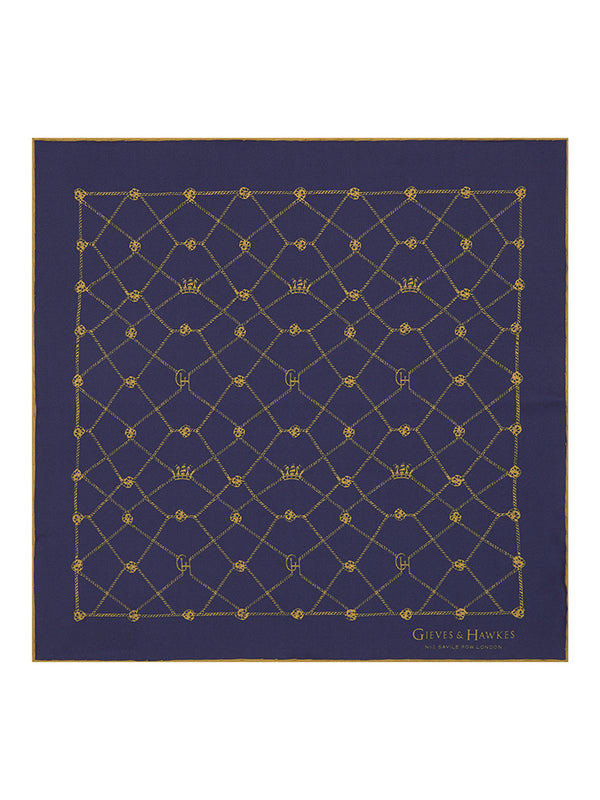 Navy Abstract Crown & Rope Pocket Square