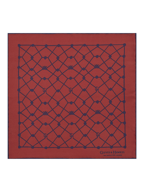 Red Abstract Crown & Rope Pocket Square
