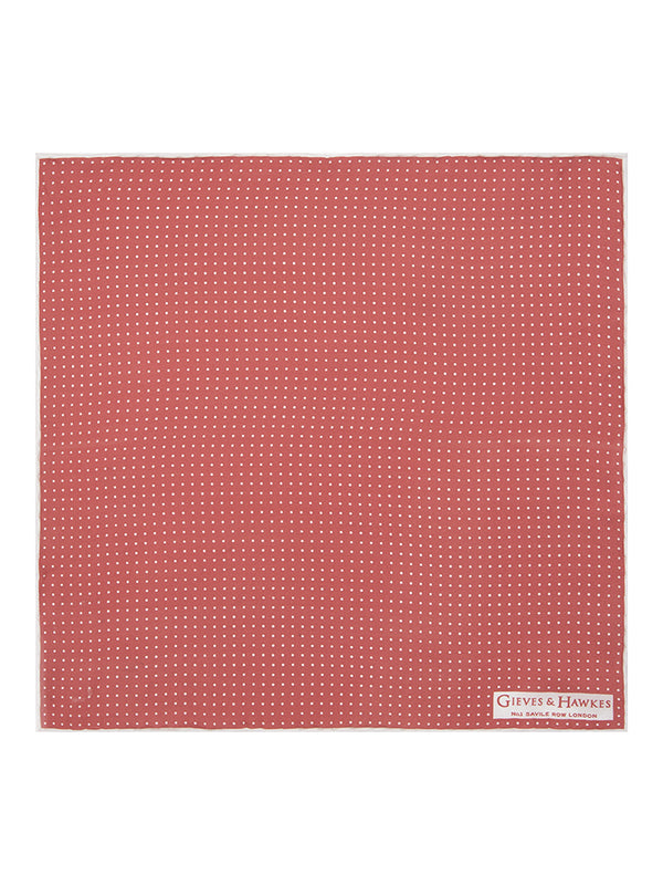 Pink Fine Spot Silk Pocket Square