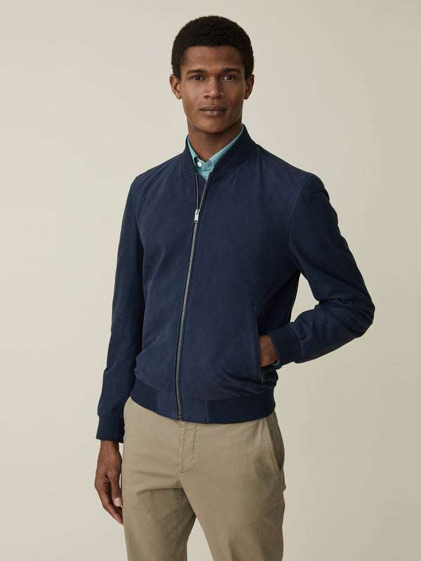 Unlined Navy Suede Bomber
