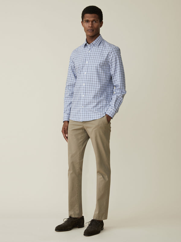 Navy And Sky Blue Gingham Check Casual Shirt