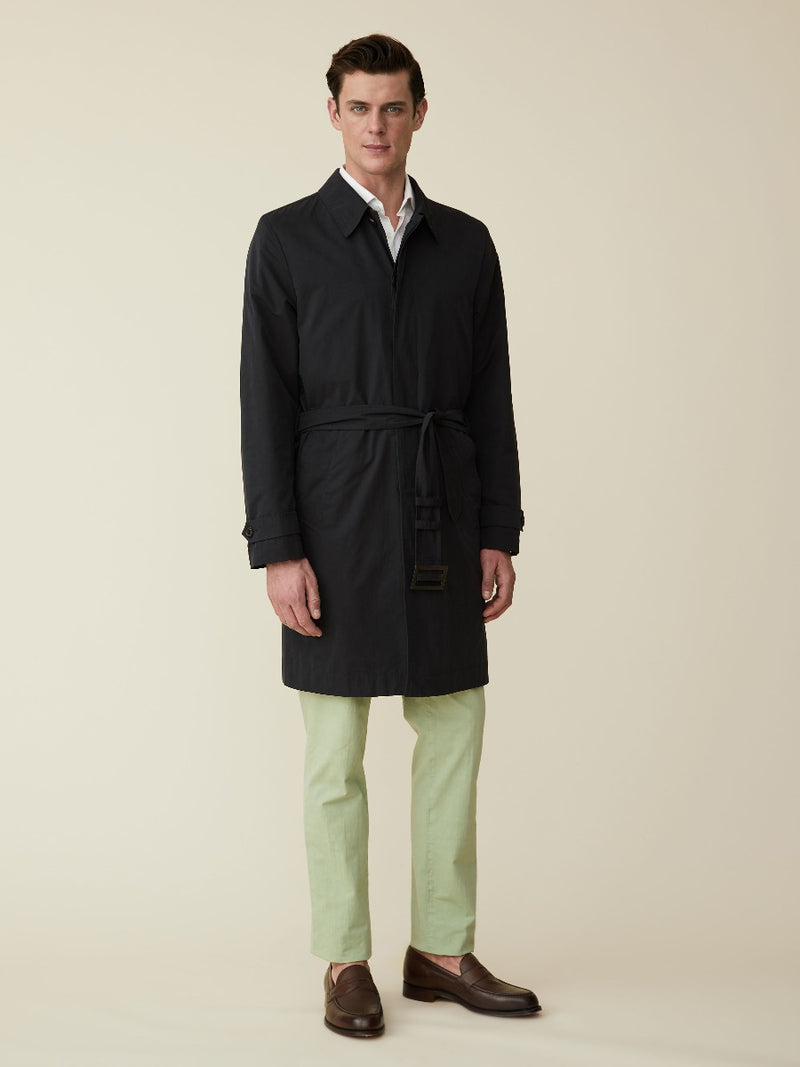 Navy Belted Technical Raincoat