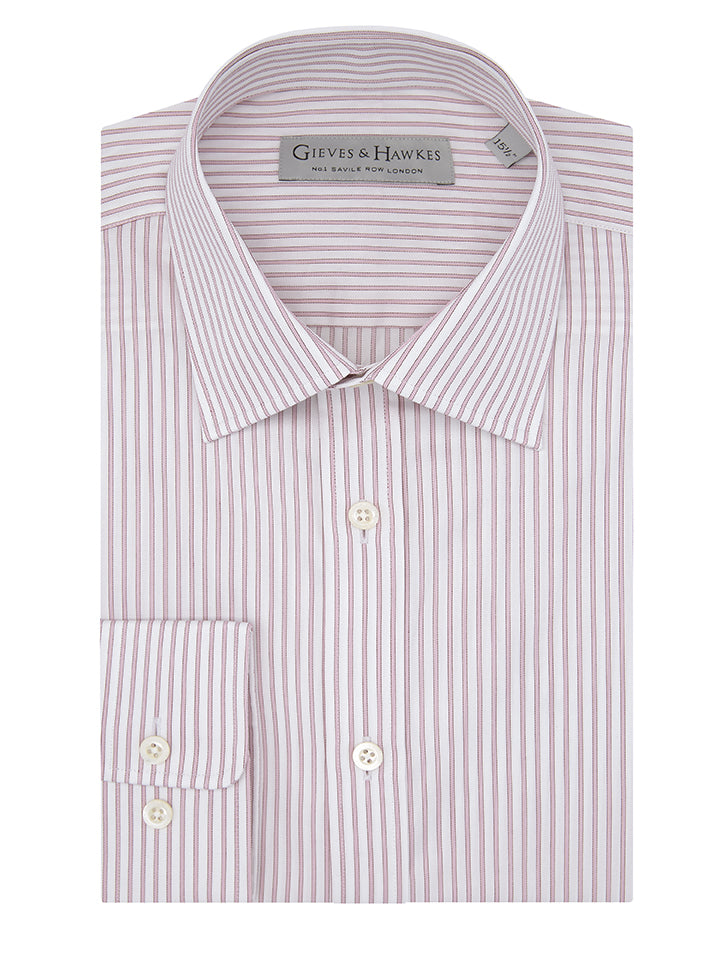 Pink And White Hairline Stripe Tailored Fit Shirt