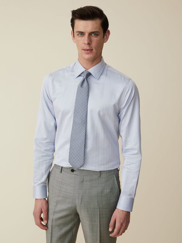 Sky Blue Herringbone Tailored Fit Shirt